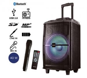 Akai ABTS-H12L φορητό ηχείο με bluetooth και ασύρματο μικρόφωνο