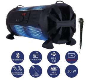 Akai ABTS-626 φορητό ηχείο 2.1 bt, led, μικρόφωνο, app και powerbank 30w