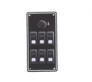 Πίνακας Ηλεκτρικός 6 Διακοπτες μεLED & φις αναπτήρα INOX
