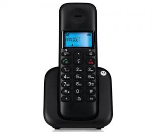 MOTOROLA T301 DECT Ασύρματο μαύρο τηλέφωνο
