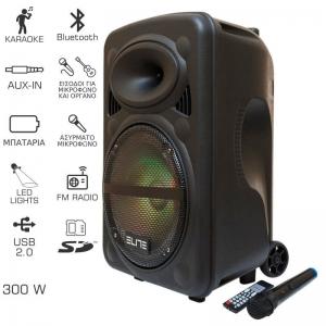 Elite PS-10 Φορητό ηχείο BΤ- LED- USB-SD, ασύρματο μικρόφωνο, τηλεχειριστήριο και ρόδες – 300 W