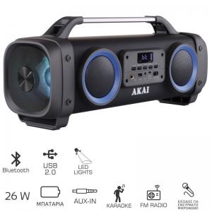 Akai ABTS-SH02 Φορητό ηχείο Bluetooth karaoke με USB, LED και Aux-In – 26 W