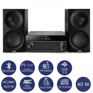 Akai AM-301K Micro HiFi με Radio-BT-USB-Aux-CD player 40 W