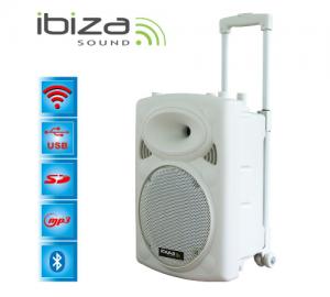 Ibiza PORT12VHF-BT-WH φορητό σύστημα ήχου. ΛΕΥΚΟ.