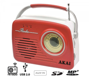 AKAI APR-11R ΦΟΡΗΤΟ ΡΑΔΙΟΦΩΝΟ ΜΕ USB,SD,AUX