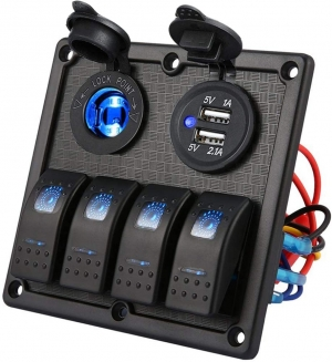 Πινακας Aδιαβροχος Με 4 Διακοπτες-USB-Φις Αναπτηρα Φωτιζομενος