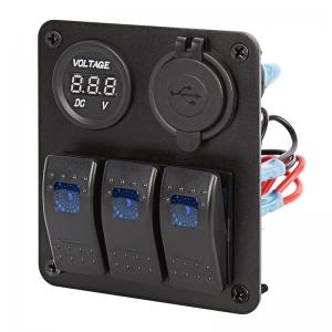 Πινακας Aδιαβροχος Με 3 Διακοπτες-USB-VOLTOMETER-LED