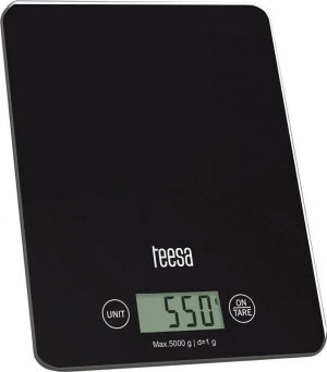 Teesa TSA0804 Black.Ζυγαριά Κουζίνας Μαύρη με Γυαλί