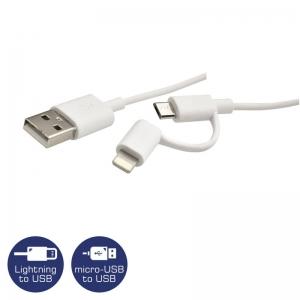 Heitech 09001732 Καλώδιο 2 σε 1 USB σε Lightning και micro USB 1 m