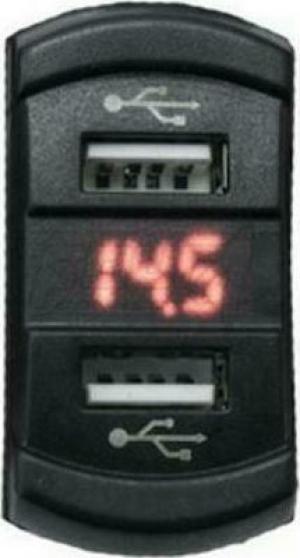 FOUR Mobile 4-600157 Διπλός φορτιστής USB με Βολτομετρο