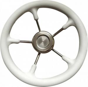Τιμόνι ακτινωτό inox με Ασπρη μαλακή επένδυση πολυπροπυλενίου Savoretti Armando Διάμετρος 35cm