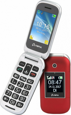 Olympia JANUS GR Κόκκινο (Ελληνικό Μενού) Κινητό τηλέφωνο για ηλικιωμένους με SOS, BT και 2 οθόνες