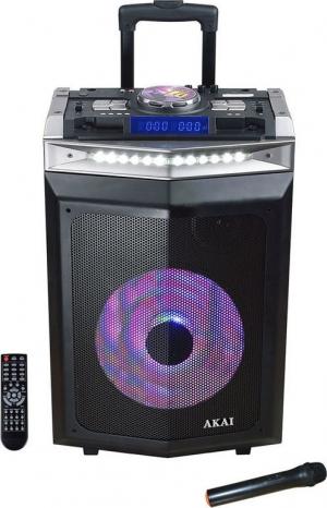 Akai DJ-6112BT Φορητό ηχείο Bluetooth με μίκτη, LED και ασύρματο μικρόφωνο – 120 W