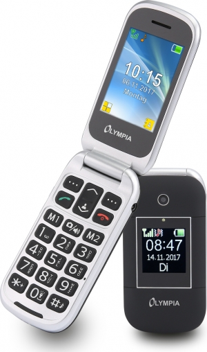 Olympia JANUS GR Μαύρο (Ελληνικό Μενού) Κινητό τηλέφωνο για ηλικιωμένους με SOS, BT και 2 οθόνες