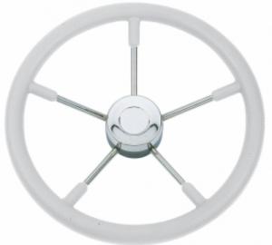 Savoretti Armando T9W Τιμόνι ακτινωτό inox με Ασπρη μαλακή επένδυση πολυπροπυλενίου Διάμετρος 35cm