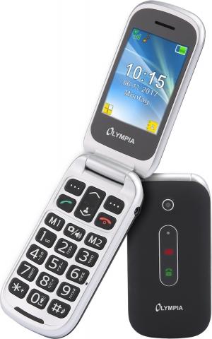 Olympia MIRA GR Μαύρο (Ελληνικό Μενού) Κινητό τηλέφωνο για ηλικιωμένους με SOS, BT κάμερα με φλας
