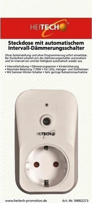 Heitech 04002273 Πρίζα με αισθητήρα φωτός