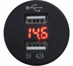 FOUR Mobile 4-600156 Διπλός φορτιστής USB με Βολτομετρο
