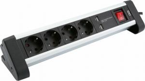 Olympia SL 2425 U Πολύπριζο ασφαλείας 4 θέσεων με 2 USB, διακόπτη και βάση για γραφείο