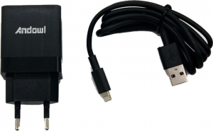 ANDOWL CX-18 Lightning Cable & Wall Adapter Μαύρο