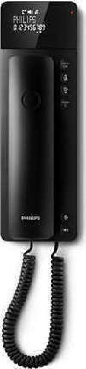 Philips M110B/GRS Μαύρο Ενσύρματο τηλέφωνο γόνδολα με οθόνη και ανοιχτή ακρόαση συμβατό με ακουστικά βαρηκοΐας