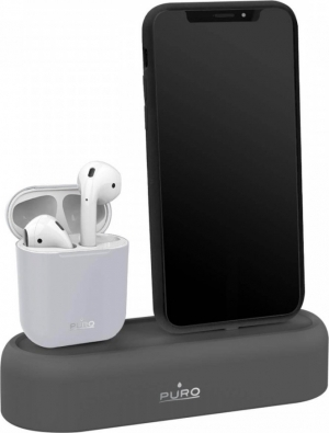 Puro Silicon Desk Holder for iPhone and AirPods – Γκρι  APDH1-GREY