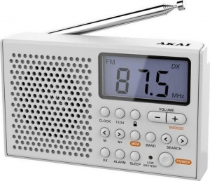 Akai AWBR-305 Λευκό Φορητό ραδιόφωνο παγκοσμίου λήψεως με οθόνη και ρολόι