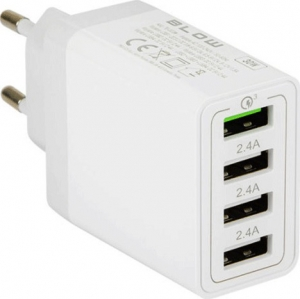 Blow 4x USB-A Wall Adapter Λευκό (76-007)