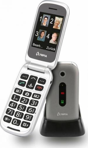Olympia MIRA GR Ασημί (Ελληνικό Μενού) Κινητό τηλέφωνο για ηλικιωμένους με SOS, BT κάμερα με φλας