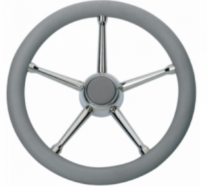 Savoretti Armando T17G Τιμόνι ακτινωτό inox με Γκρι μαλακή επένδυση πολυπροπυλενίου Διάμετρος 35cm