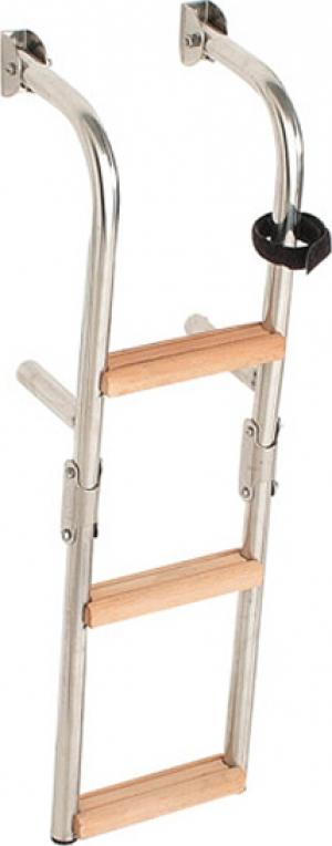Σκάλα INOX Αναδιπλούμενη Καθρέπτου με 3 Σκαλοπάτια Ξυλινα 64x20cm