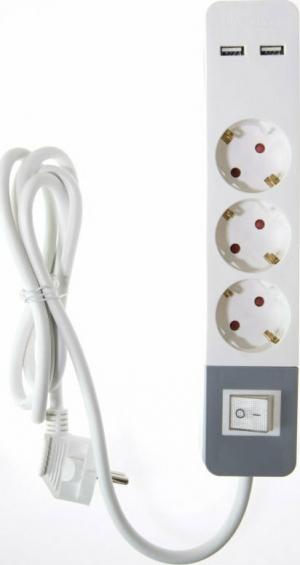 Osio OPS-3003 Πολύπριζο 3 θέσεων με παιδική προστασία, 2 USB, διακόπτη και καλώδιο 1.5 m