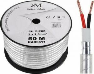 Kruger&Matz KAB0411 Ατερμάτιστο Επαγγελματικό καλώδιο ηχείων OFC 2x2,5mm