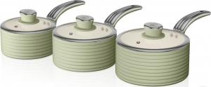 Swan 3 Piece Saucepan Set Retro Σετ 3 Κατσαρόλες – Πράσινο SWPS3020GN
