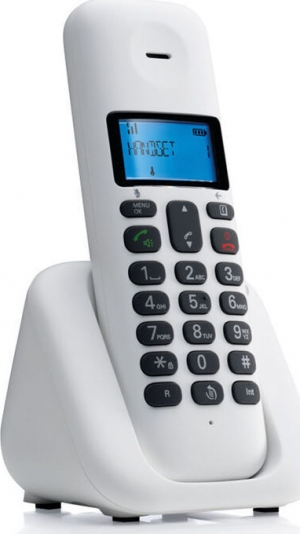 Motorola T301 White (Ελληνικό Μενού) Ασύρματο τηλέφωνο με ανοιχτή ακρόαση