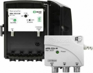 IKUSI JSBA-103-C48 ΚΙΤ Ενισχυτής Ιστού 5G 35dB 113dBμV + Τροφοδοτικό 24VDC APB-224-M