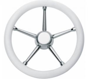 Savoretti Armando T17W Τιμόνι ακτινωτό inox με Ασπρη μαλακή επένδυση πολυπροπυλενίου Διάμετρος 35cm