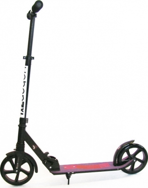 Scooter with Front Suspension and Large Wheels Black