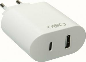 Osio OTU-5904W Διπλός φορτιστής κινητού με USB Type-C και USB Type-A – 18W Λευκος
