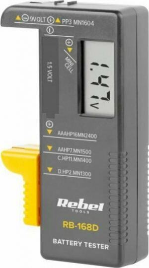 Rebel RB-168D Ψηφιακό Battery Tester με Πτυσσόμενη Υποδοχή