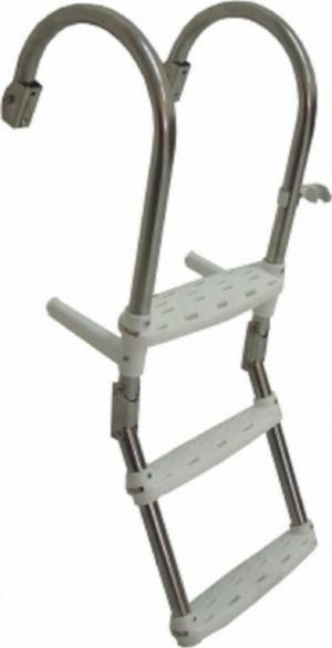 Σκάλα 3 Σκαλοπατια αναδιπλούμενη καθρέπτου κουπαστής Inox SS316