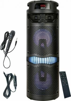 Akai ABTS-636 Φορητό ηχείο Bluetooth karaoke με USB, LED, Aux-In, φορτιστή αυτοκινήτου και application – 40 W