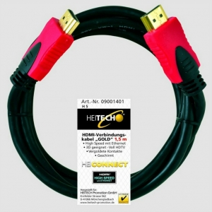 Heitech 09001402 Επιχρυσωμένο καλώδιο High Speed HDMI αρσενικό σε αρσενικό με ethernet 2 m