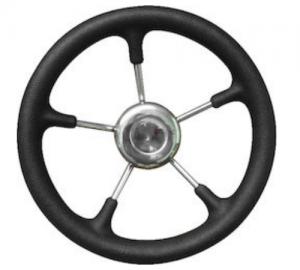 Τιμόνι ακτινωτό inox με Μαυρη μαλακή επένδυση πολυπροπυλενίου Savoretti Armando Διάμετρος 35cm