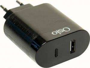 Osio OTU-5904B Διπλός φορτιστής κινητού με USB Type-C και USB Type-A – 18W Μαυρος